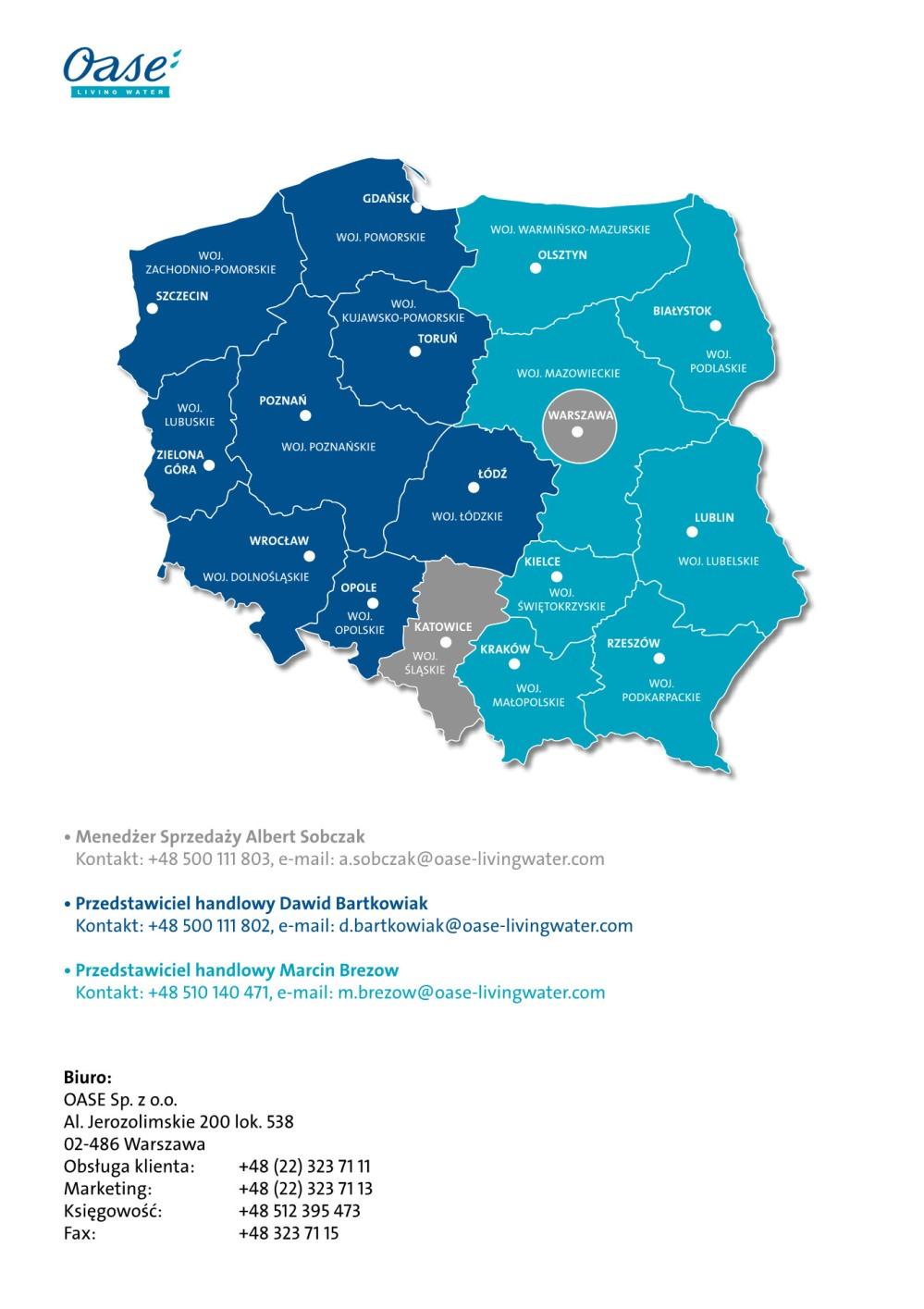 Oase polska sieć i zasięg obsługi handlowej profesjonalistów z zakresu oczek wodnych, oczek kąpielowych ,fontann i kaskad ,fontann multimedialnych
